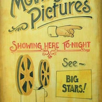 Vintage Inspired Movie Sign, Retro Moving Pictures, Media Room