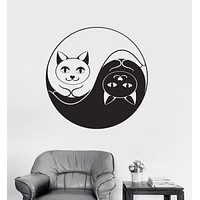 Vinyl Wall Decal Yin Yang Funny Cat Dao Taoism Zen Bedroom Decor Stickers Unique Gift (032ig)