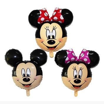 3Pcs 78*63cm Mickey Mouse Minnie head foil balloon Kids Birthday Party Decoration Baby Shower Supplies Inflatable Mitch Globos