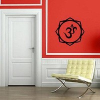 Yoga Lotus Symbol Om Sanskrit Spiritual Decor Wall MURAL Vinyl Art Sticker Unique Gift M587