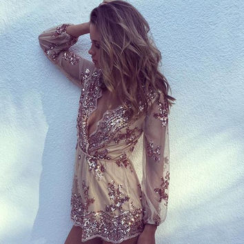 Limited Edition Fall Sequin Romper Rose Gold and Silver Bachelorette Party
