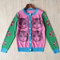 GUCCI Women Fashion Cat Print Cardigan Jacket Coat