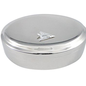 Silver Toned Stealth Fighter Jet Plane Pendant Oval Trinket Jewelry Box
