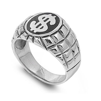 925 Sterling Silver Cash Rules Everything Around Me 17MM Ring