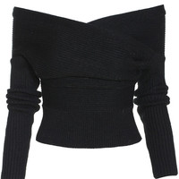 Boat Neck Wrap Front Black Sweater