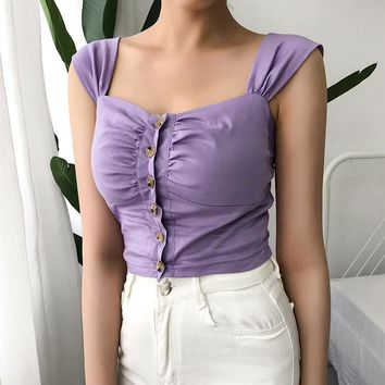 European and American pure color vest female word collar single buckle short high-waist navel vest purple girl repair body clothing summer