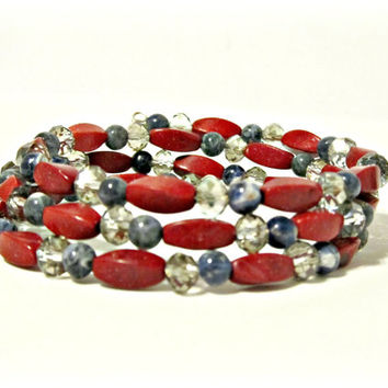 Red Bamboo Coral, Sodalite & Crystal Wrap Bracelet - Red, Blue, and Gray - Memory Wire Bracelet, Boho Bracelet