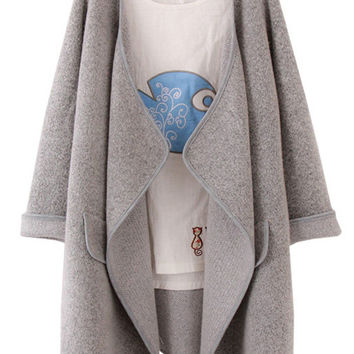 Grey Long Sleeve Sweater Coat