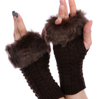 Brown Faux Fur Knitted Hand Warmers