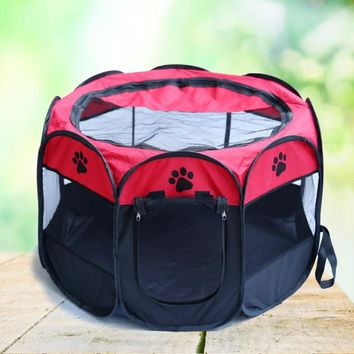2017 Lovely Folding Pet Tent Dog House Cage Dog Cat Bed Tent Playpen Puppy Kennel  Pet Nest Octagonal Fence Outdoor Supplies