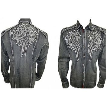 House of Lords Black Contrast Tribal Shirt 3003_black House of Lords Clothing Button Down Shirts