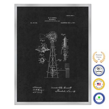 1906 Farming Windmill Antique Patent Artwork Silver Framed Canvas Home Office Decor Great for Farmer Milk Lover Cattle Rancher