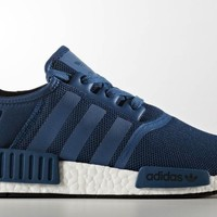 Adidas NMD R1 Nomad Blue Night Black White Boost Runner Shoes BY3016 Mens Sz 5