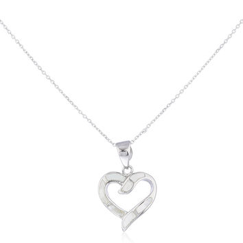 925 Sterling Silver Opal Open Love Heart Necklace (White)