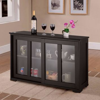 Giantex Home Storage Cabinet Sideboard Buffet Cupboard Glass Sliding Door Shelf Pantry Wood Kitchen Cabinet New HW53867