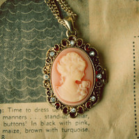 Pastel Pink Victorian Style Cameo Necklace by ladylockscreations