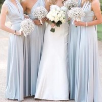 New Light Blue Covertible Bridesmaid Dresses Pleated Floor length Country Beach Wedding Guest Party Gowns Cheap Long Prom Dress