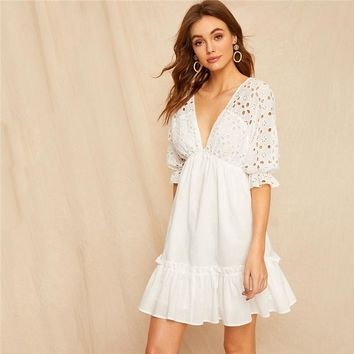 Plunging Neck Tie Back Schiffy Bodice Dress Ruffle Hem Half Sleeve A Line Dress Deep V Neck Women Dresses