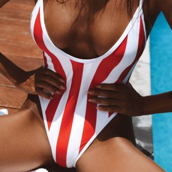 Summer New Fashion Red White Stripe One Piece Bikini Swimsuit