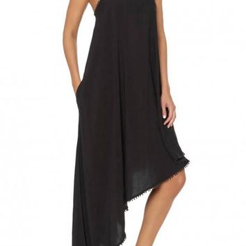Black One Shoulder Asymmetrical Maxi Cover-Up Dress