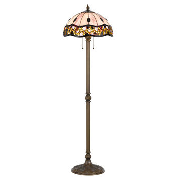 Cal Lighting BO-2375FL Tiffany Antique Brass 60-Inch Floor Lamp with Stained Multi-Colored Shade