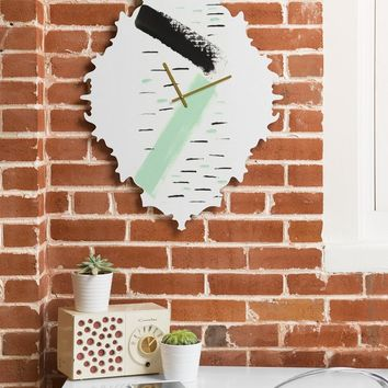 Viviana Gonzalez Minimal black and mint II Baroque Clock | Deny Designs