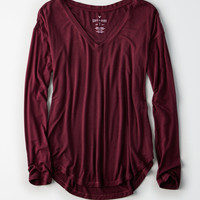 AE Soft & Sexy Long-Sleeve Favorite T-Shirt, Burgundy