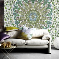 Jordicia Mandala Bohemian Boho Green Mix Wall Beach Bed Tapestry