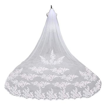 """Embroidery Lace Edge Bridal Wedding Veil with Comb (102.36"""" inches 260cm)"""