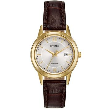 Citizen Ladies Eco-Drive Date Watch - Gold Tone - Brown Leather Strap