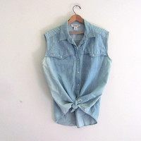Vintage SLEEVELESS denim shirt. faded blue jean top/ Grunge Shirt