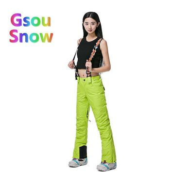 Gsou Snow Winter Outdoor Women's Skiing Sports Waterproof Ski Pants to Keep Warm Solid Color Harnesses Snowboarding Trousers