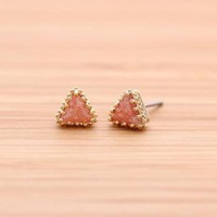 TRIANGLE with ice cubic stud earrings by bythecoco on Zibbet