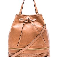 she + lo Silver Lining Drawstring Bag in Tan