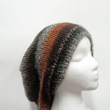 Knitted slouch hat stripes for men or women    5246