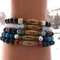 Earth, Water, Fire, Wind and Spirit,  Elements Bracelet, Tree Bracelet, Lava Bracelet, Wood Bracelet, Shell Bracelet, Nature Bracelet