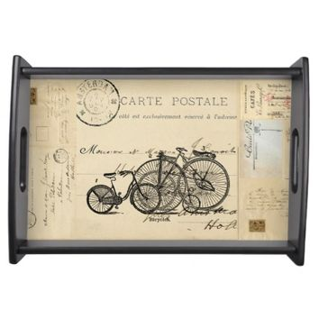 Vintage Bicycles French Postcard Tray Serving Tray