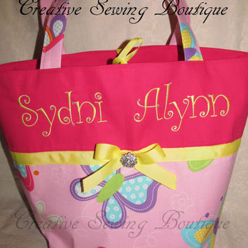 FREE SHIPPING Custom handmade hot pink butterflies and BLING diaper bag you choose name or initials