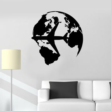 Wall Vinyl Sticker Decal Planet World Transport Airplane Flight Unique Gift (ed455)