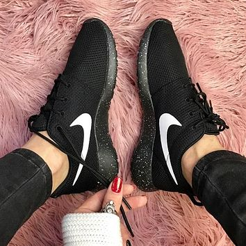 Nike ID roshe Oreo black on black Shoes Sneakers