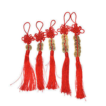 Chinese Feng Shui Protection Fortune  Charm Red Tassel String Tied Coins HU