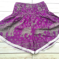 High waisted Lace Shorts Elephants Boho Print Summer Chic Fashion Trim Tribal Aztec Ethnic Clothing Bohemian Ikat Clothes Hobo Purple Beach
