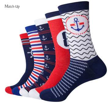 Navy Style Anchor Men Combed Cotton funny Socks Lovers socks