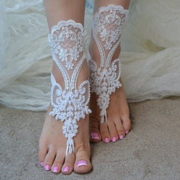 Free Ship, Beach wedding barefoot, sandals Beach shoes, bridal sandals, lace sandals, wedding bridal, ivory accessories, barefoot sandals