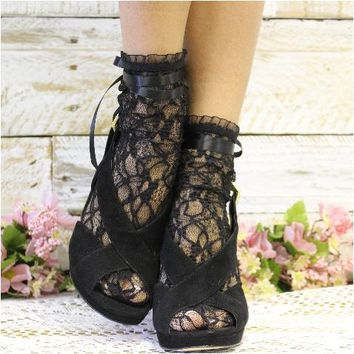 PARIS lace ankle sock with ribbon tie - noir