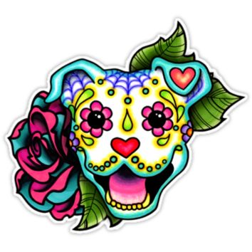 Day of the Dead Smiling Pit Bull Sugar Skull Dog by prettyinink