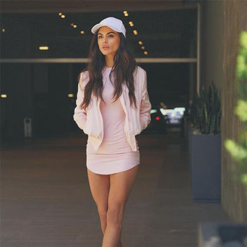 Asymmetric Long Sleeve Bodycon Mini Dress