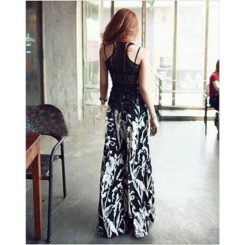 Long Gaucho Boho Flare Elephant Wide Leg Chic Sophisticated Casual Sassy Pants Tie-dyed wide leg pants