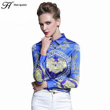 H Han Queen  Women's Blouses Loose Elegant Long Sleeve Chiffon Blouse Tops Casual Vintage Printing Shirt Women Clothing Blusas