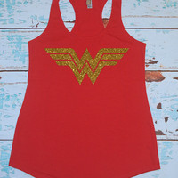 Wonderwoman Tank Top Shirt. Wife Gift. Christmas Gift. Marathon Shirt. WOD. Crossfit. Strong Confident YOU. Gym Shirt